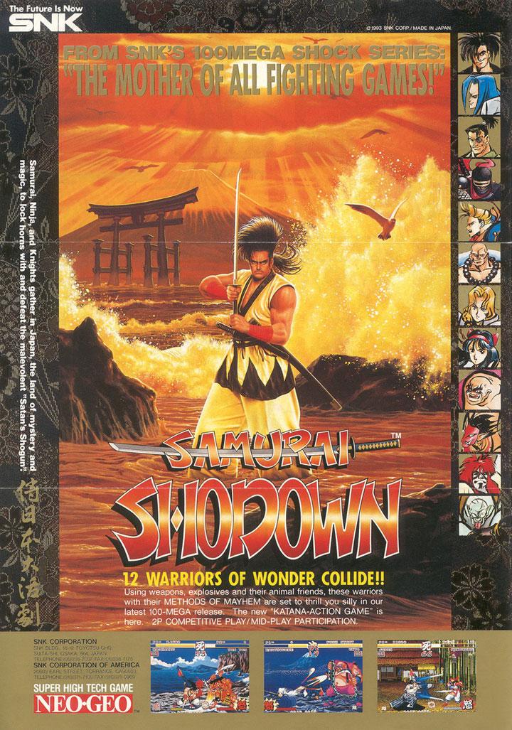 Arcade poster advertisement for Samurai Shodown.