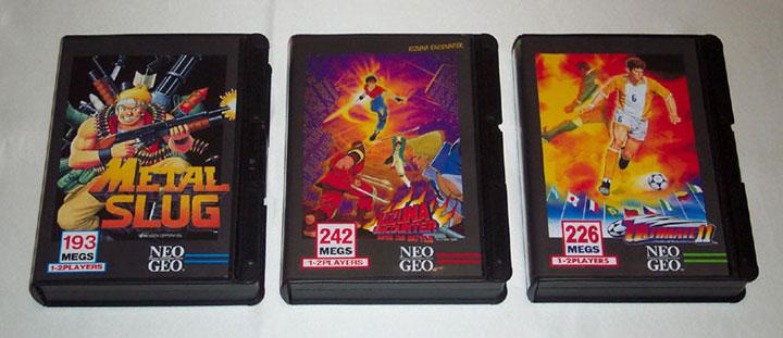 Metal Slug, Kizuna Encounter, and Ultimate 11. The three rarest NeoGeo AES games.