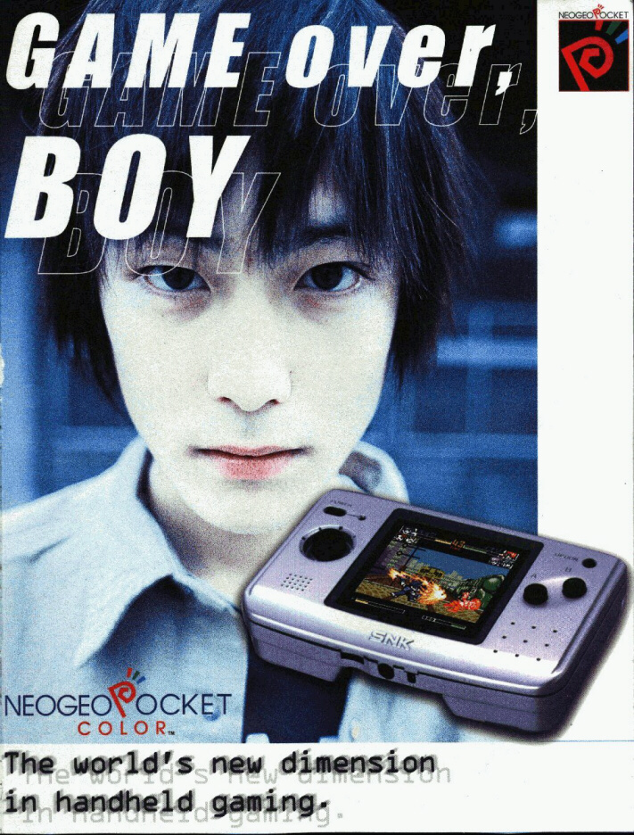 Tongue-in-cheek advertisement for the NeoGeo Pocket Color in the UK.