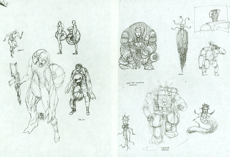 An early look at the hybrid monster and early sketches of System Shock 2's diabolical villain, SHODAN.