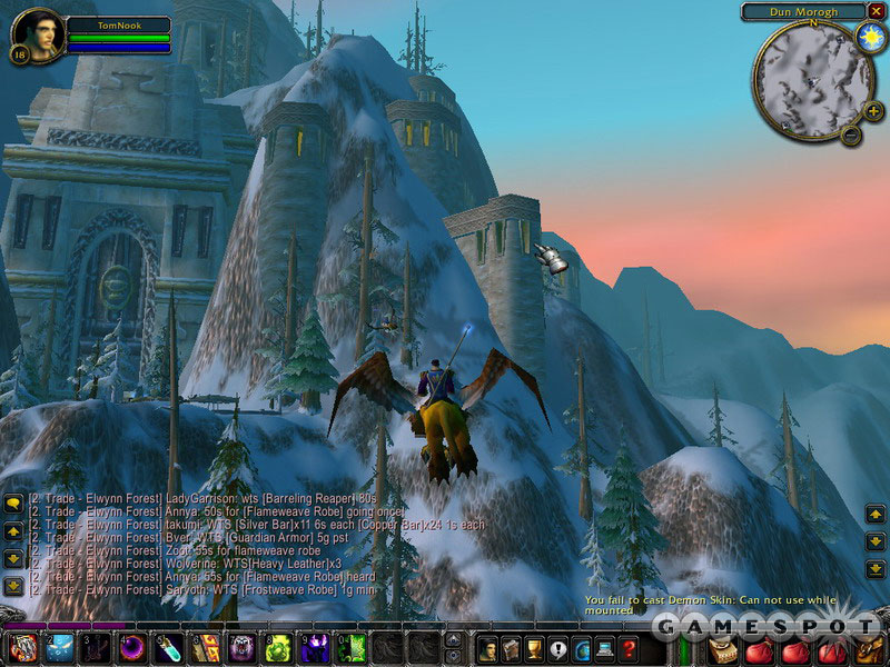 Flying into the dwarven capital, Ironforge.
