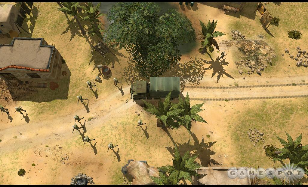 Infantry deploy from a truck and head toward the neighboring buildings to hole up.