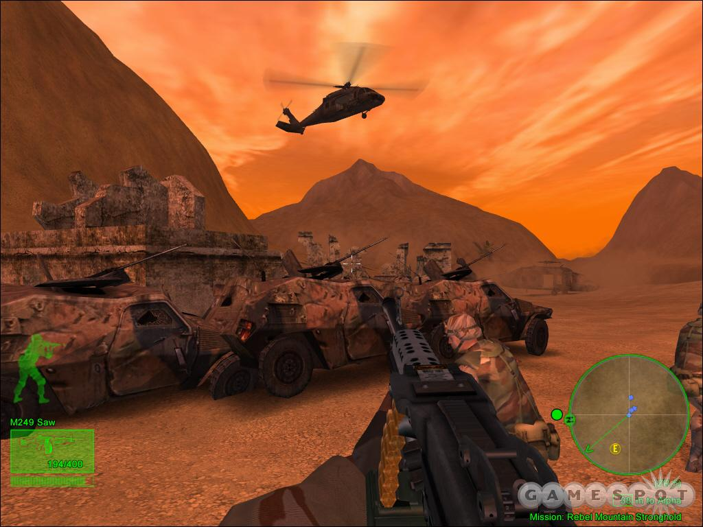 A Black Hawk swoops low to provide support. You have to neutralize enemy RPG gunners or they'll shoot it down.