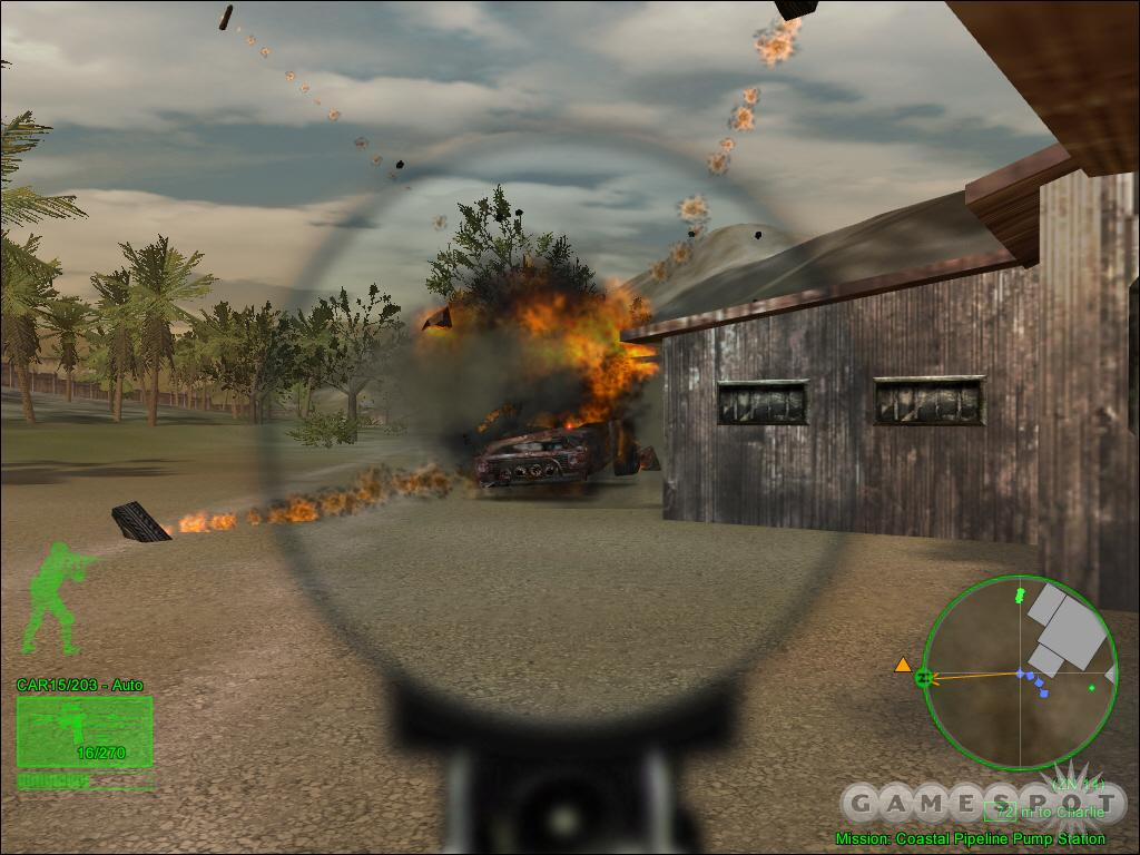 A technical explodes gloriously into flames after taking only a few shots from an M4 carbine.
