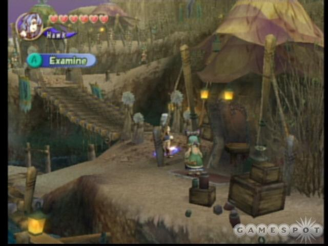 Just after entering town, look to the left of this tent to find the secret item for Leuda.