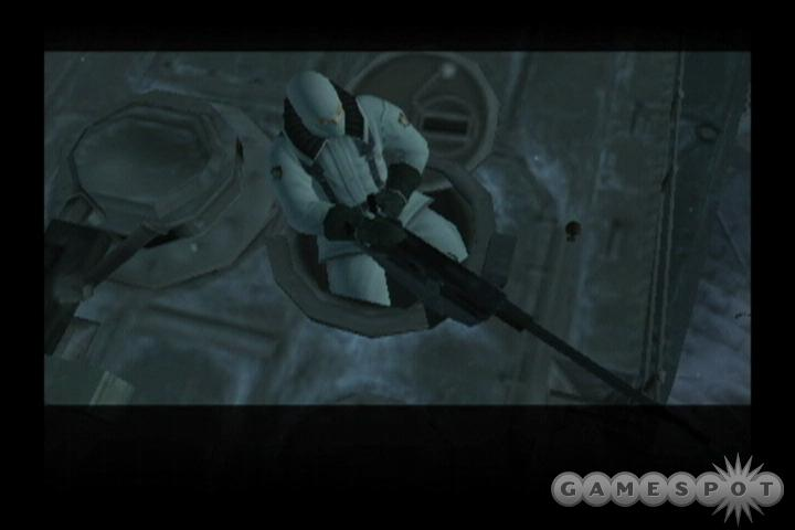 You can shoot from a first-person perspective, and you can even stick up guards for their dog tags, just like in MGS2.