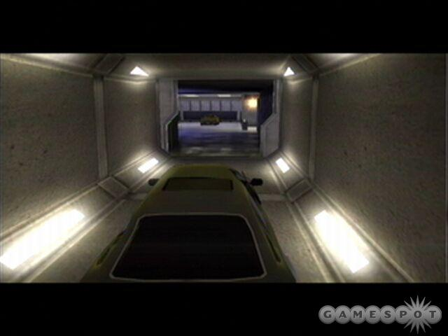 When exiting the tunnel, fire missiles to destroy the enemy limo that attacks Bond.
