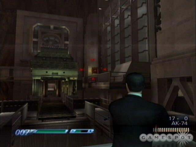 Bond can shoot the left gear box before even stepping onto the conveyor belt if he so chooses.