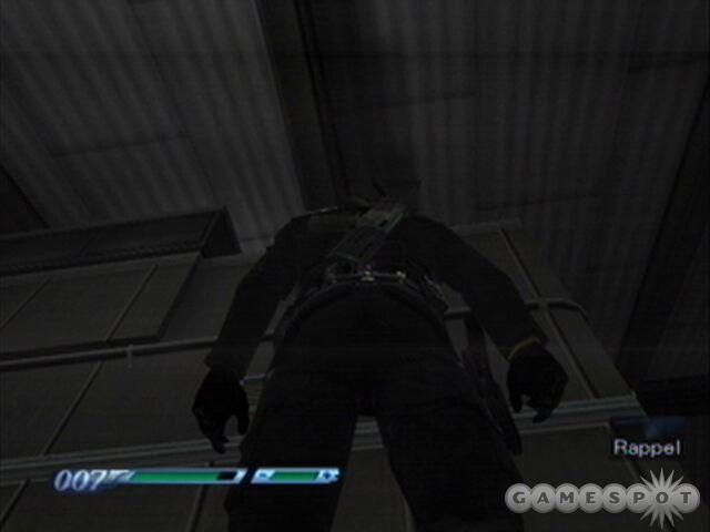 While Bond doesn't need to, rappelling up to the upper level can yield two armored vests.