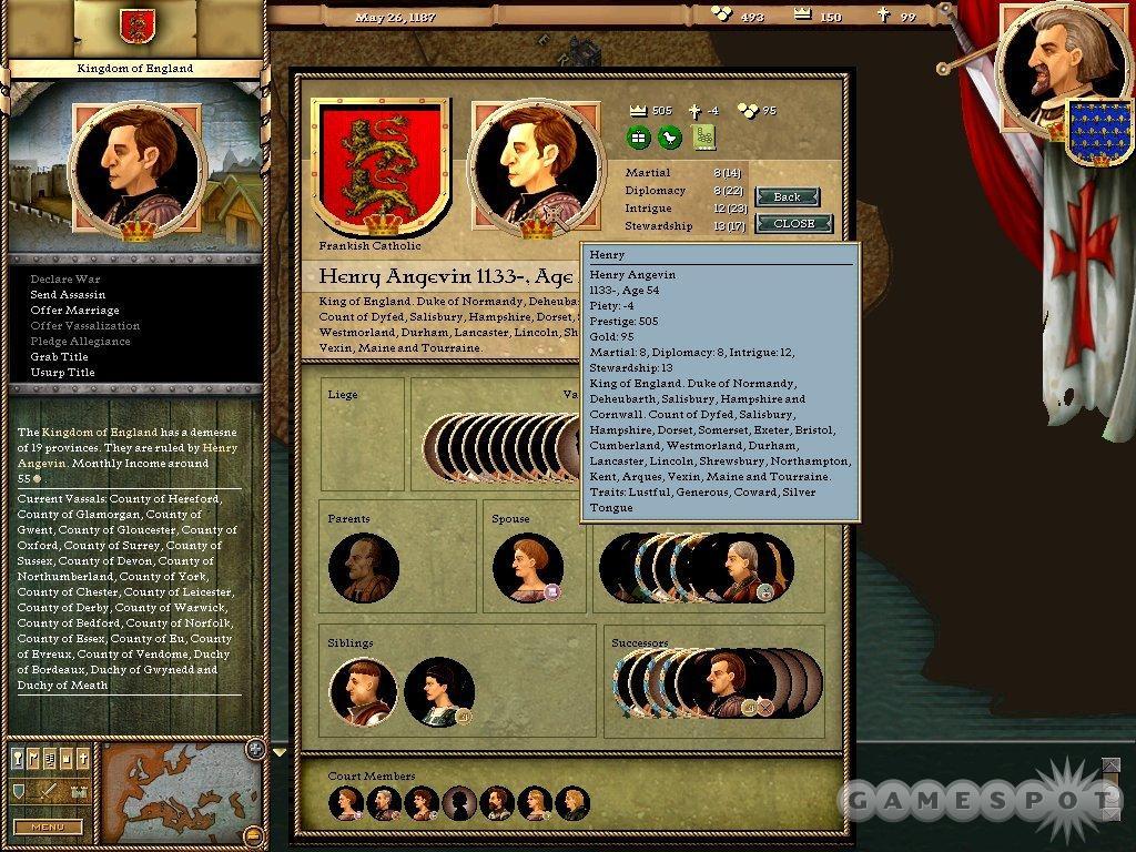 See screenshots of Crusader Kings