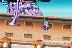 Some bosses take up most of the screen or cause the background to twist and tumble.