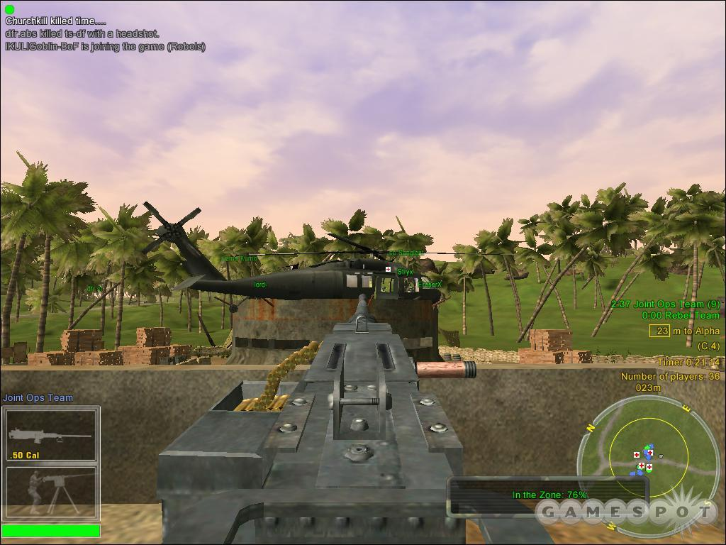 In a pinch, a landed helicopter can become a makeshift emplaced gunning position by itself.