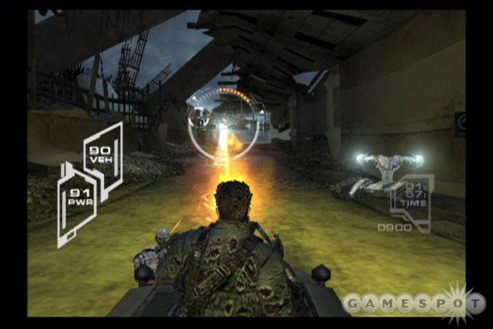 The mixture of third-person shooting, rail shooting, and driving missions in the game make for a nice level of variety.