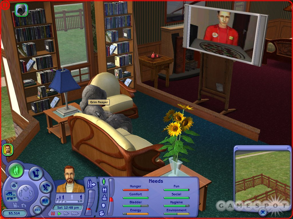 His work complete, the Grim Reaper curls up in front of the dead family's TV. Fortunately fulfilling needs is a bit easier in The Sims 2...if you want it to be.