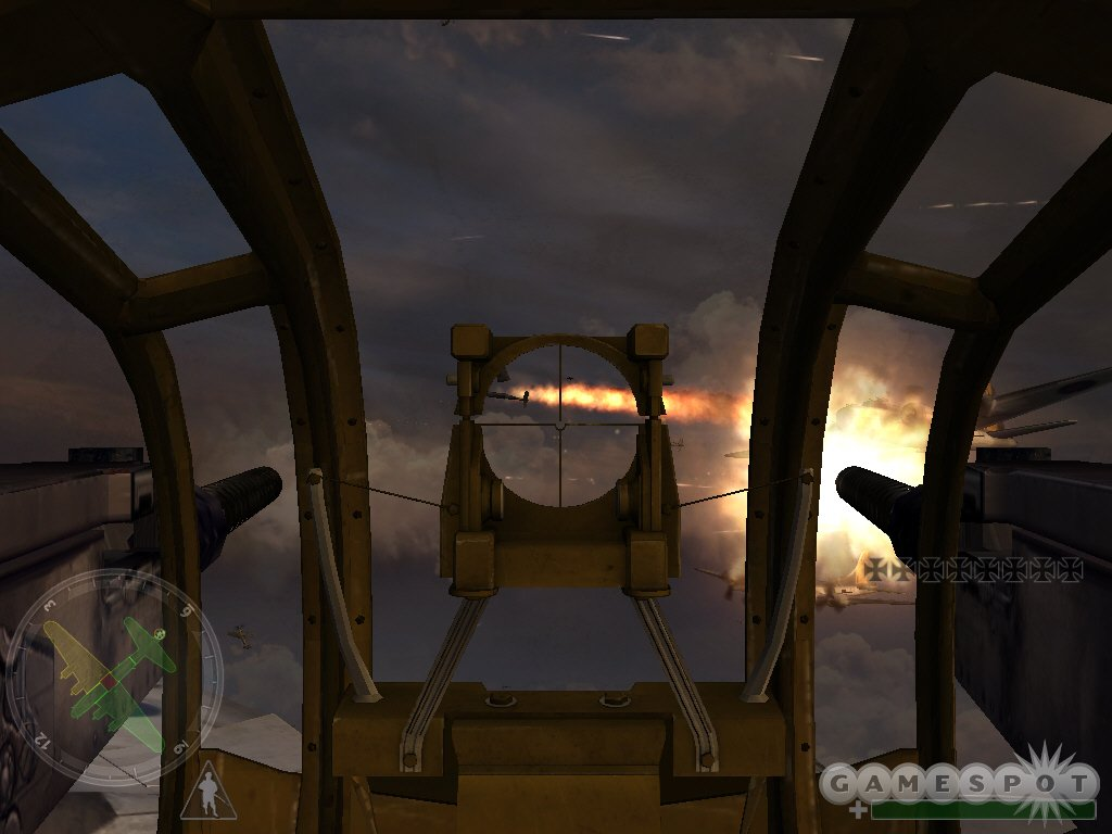 During the British missions, you can fly as a gunner on board a B-17 over Germany, where the Luftwaffe swarms all over you like flies.