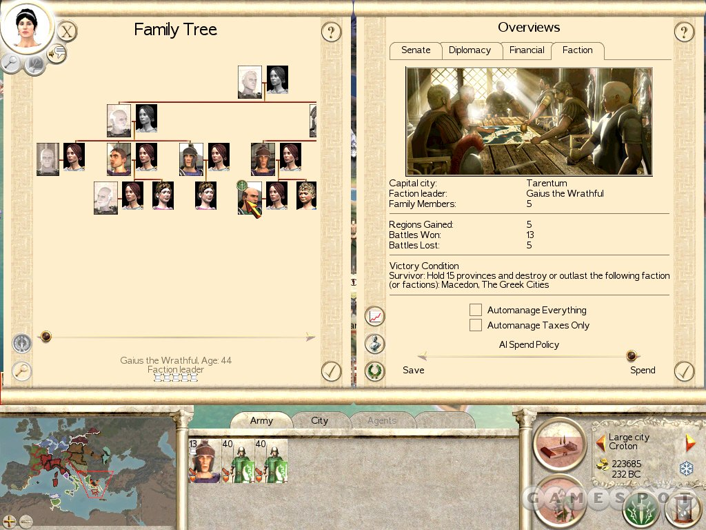 You'll draw your faction's leaders from the family tree. Make sure not to kill off your heirs in battle.