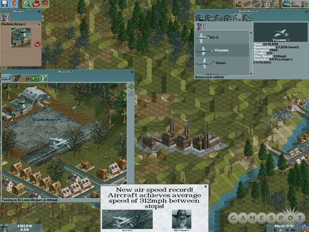 Locomotion uses the same graphics engine as Transport Tycoon, but it's a little more colorful 10 years later.