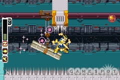 The levels have some tricky spots, like here, where Zero has to stand on the edge of the moving platform to avoid spikes from above and below.