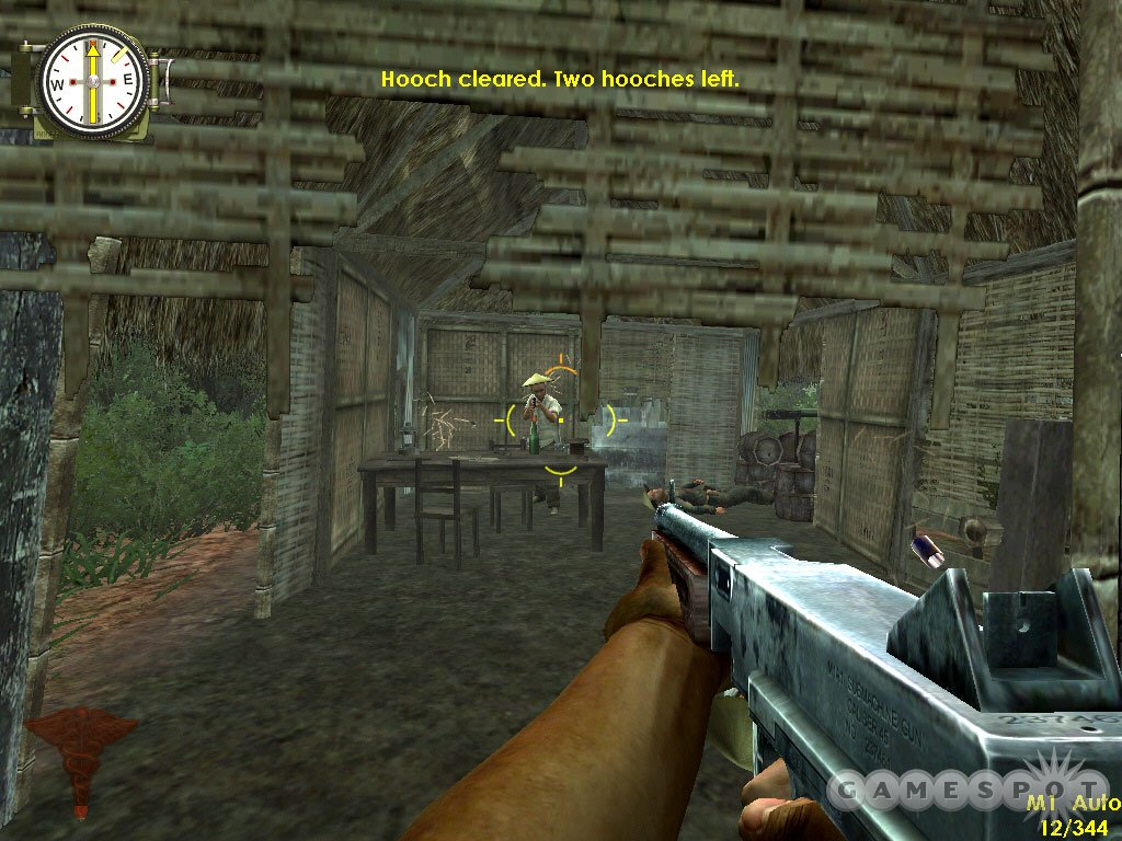 The Thompson submachine gun is useful for clearing out huts.