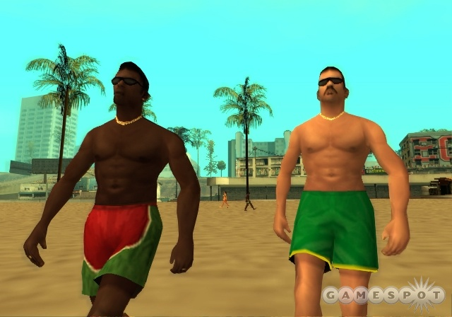 You'll find everyone in San Andreas has an opinion about something, including the Speedo twins here.