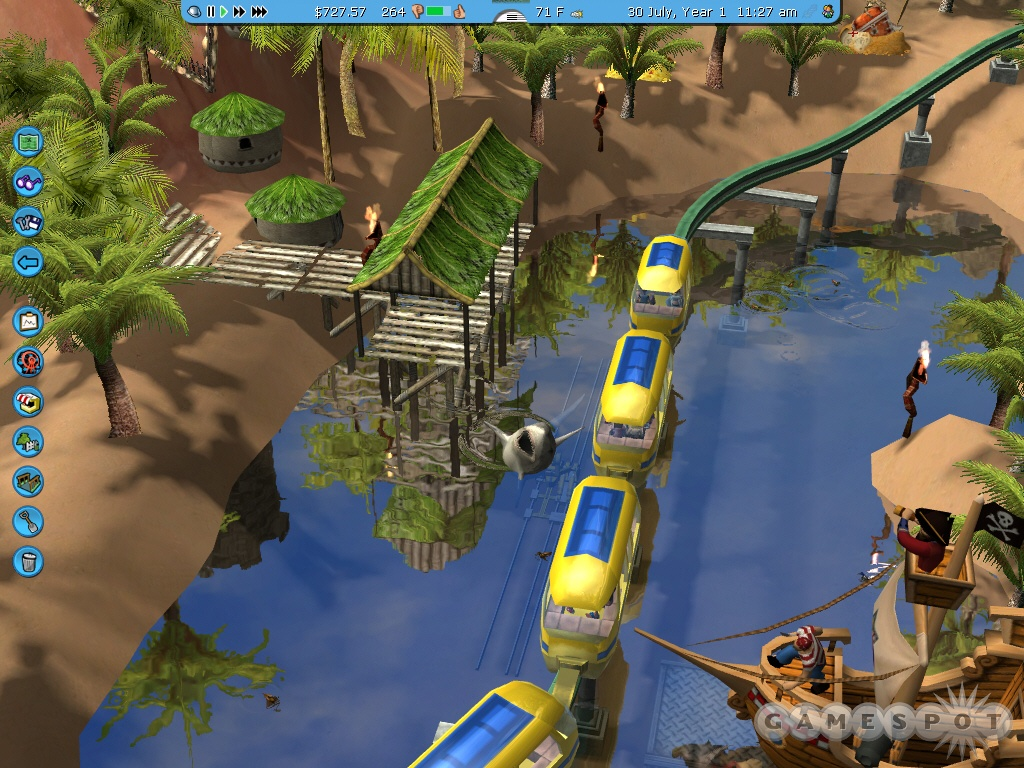 RollerCoaster Tycoon 3 will let you build the theme park of your dreams, even those with sharks in them.
