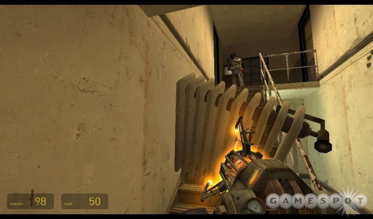 Physics-based gameplay, like using a radiator as a shield, was a design goal for the team.