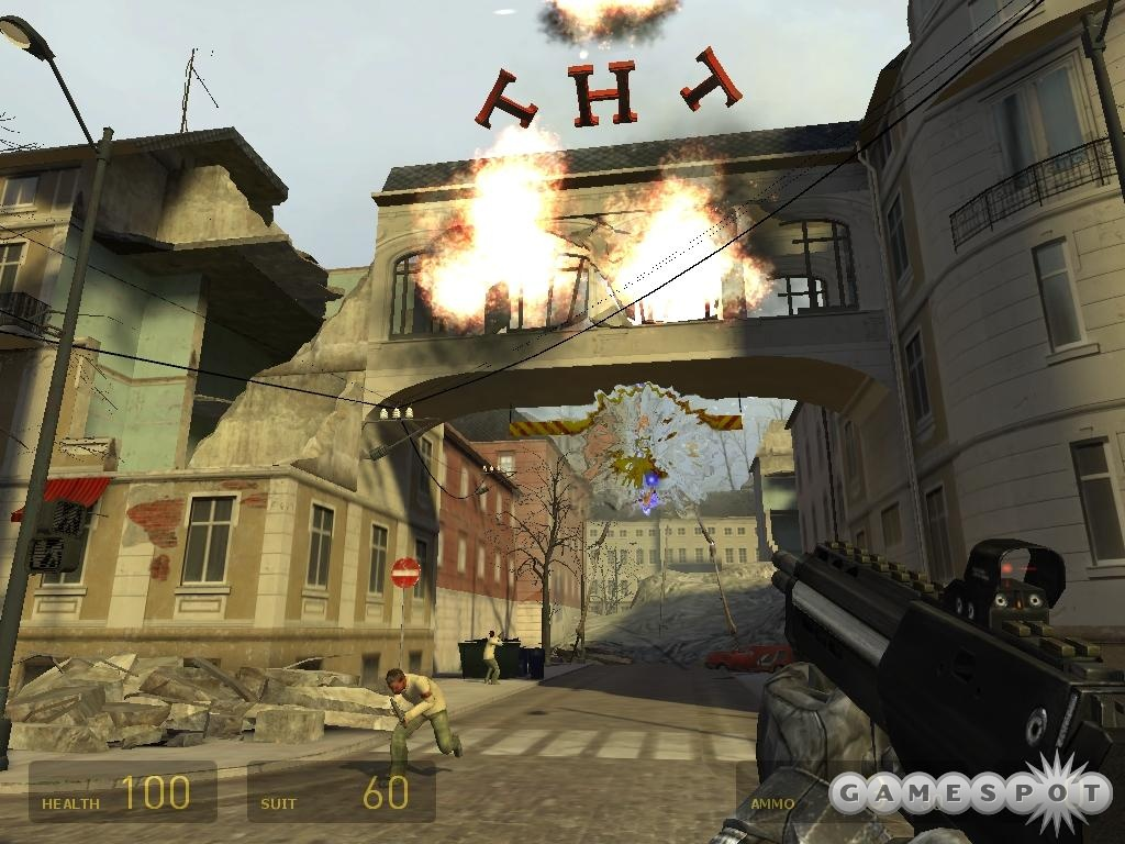 A strider attacks the City 17 sky bridge in the finished September 2002 proof of concept.