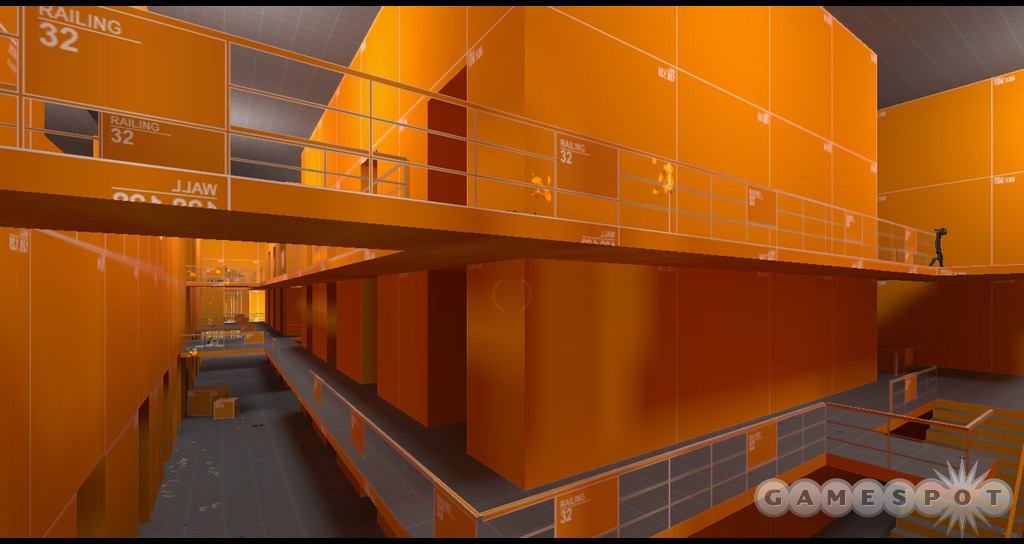 Orange maps were created for all the levels before the artists added textures.