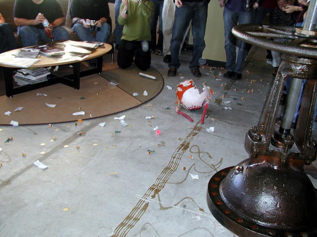 The aftermath of Gabe's piñata smashing.