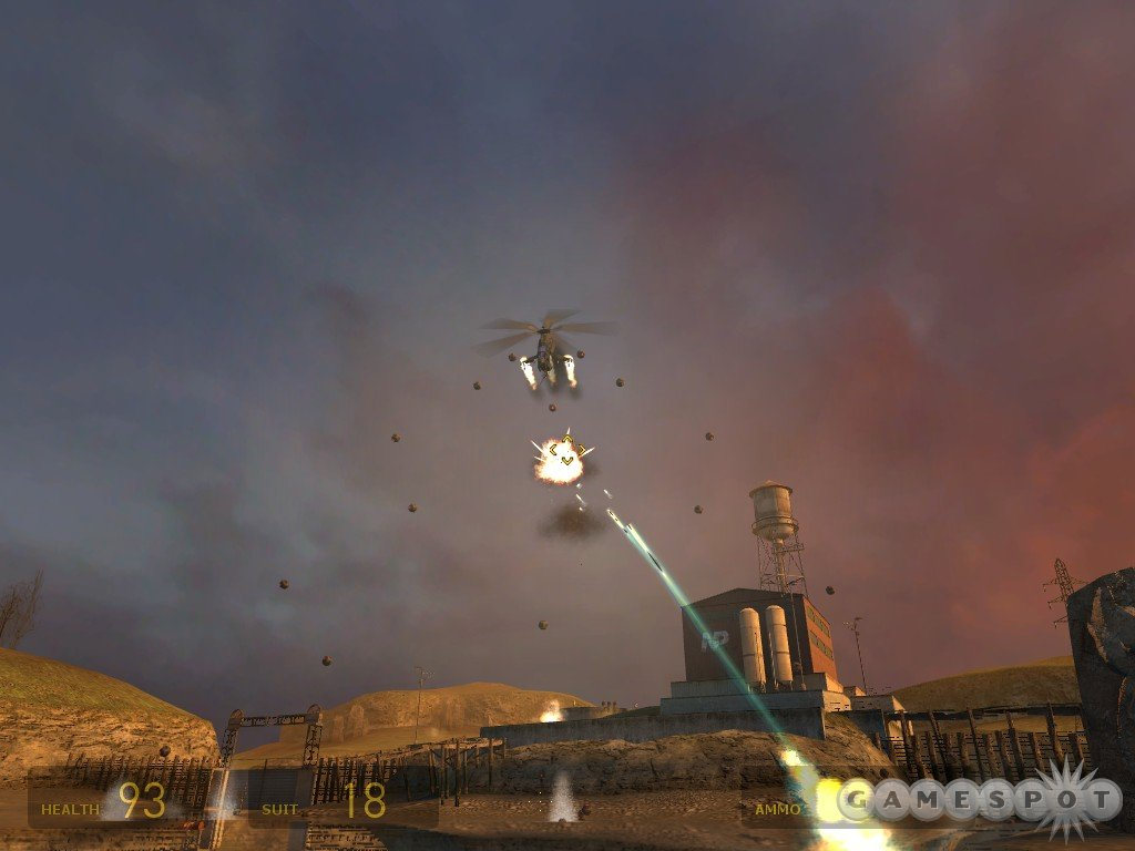 If you can, shoot the bombs as the helicopter's dropping them; it'll be one less thing for you to worry about.