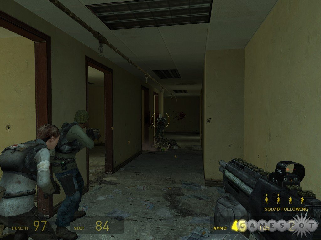 Try to stay ahead of your teammates here, or they're liable to get ambushed by CP that are hanging around in the rooms of the apartment building.