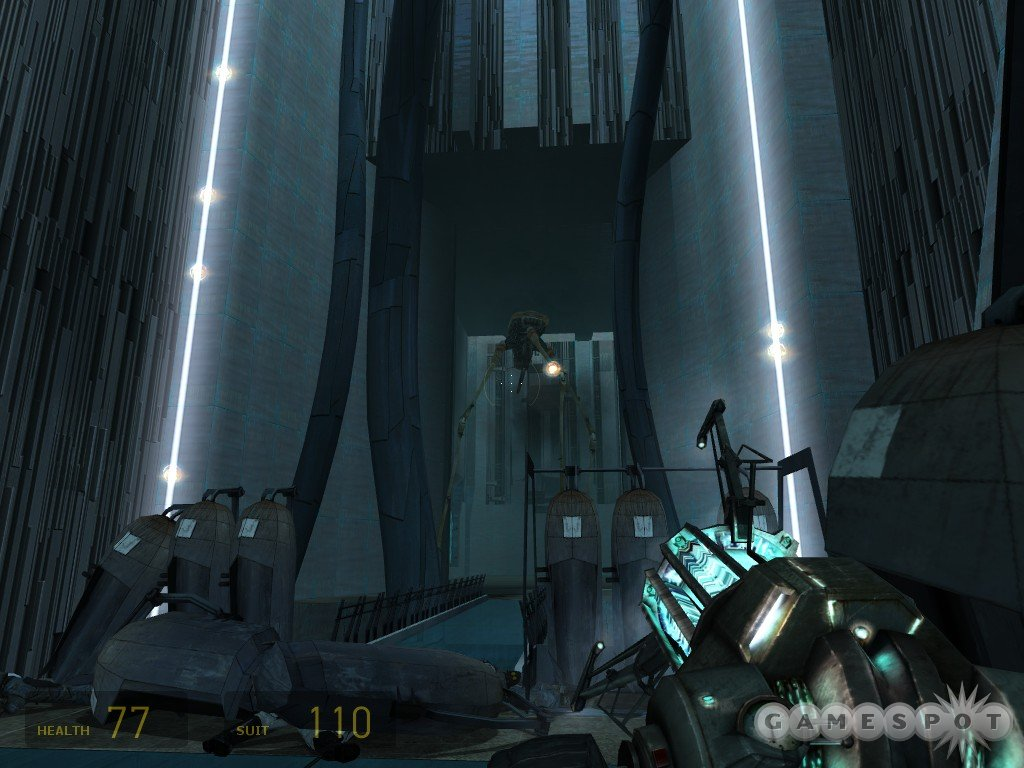 This Strider is easily killable with the fusion cores; just be sure to hide while it fires its turret at you.