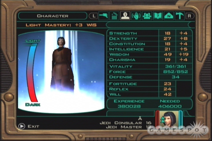 Between items, lightsaber crystals, Force Powers, and level-up stat increases, you can get your basic attributes to some insane levels by the end of the game.