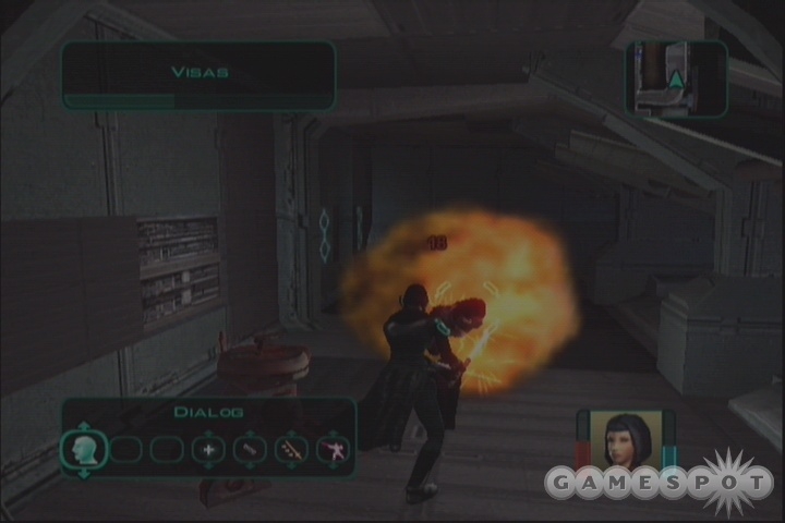 If you're lucky, T3-M4 might wander over and start zapping Visas with his flamethrower.
