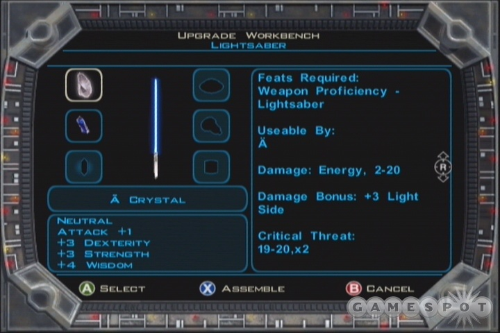 If you haven't had time to insert it yet, use the Workbench here to put your namesake crystal into your lightsaber.