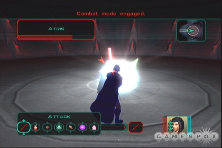 Atris isn't so tough, at least when compared to some of the Jedi Master duels from earlier in the game.