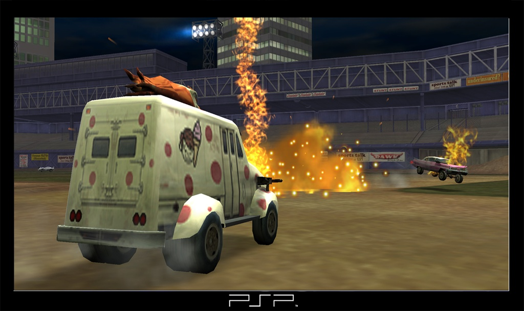 Get ready to burn rubber and lots of other substances in Twisted Metal: Head-On, a shooter starring a loveable cast of gnarly cars.