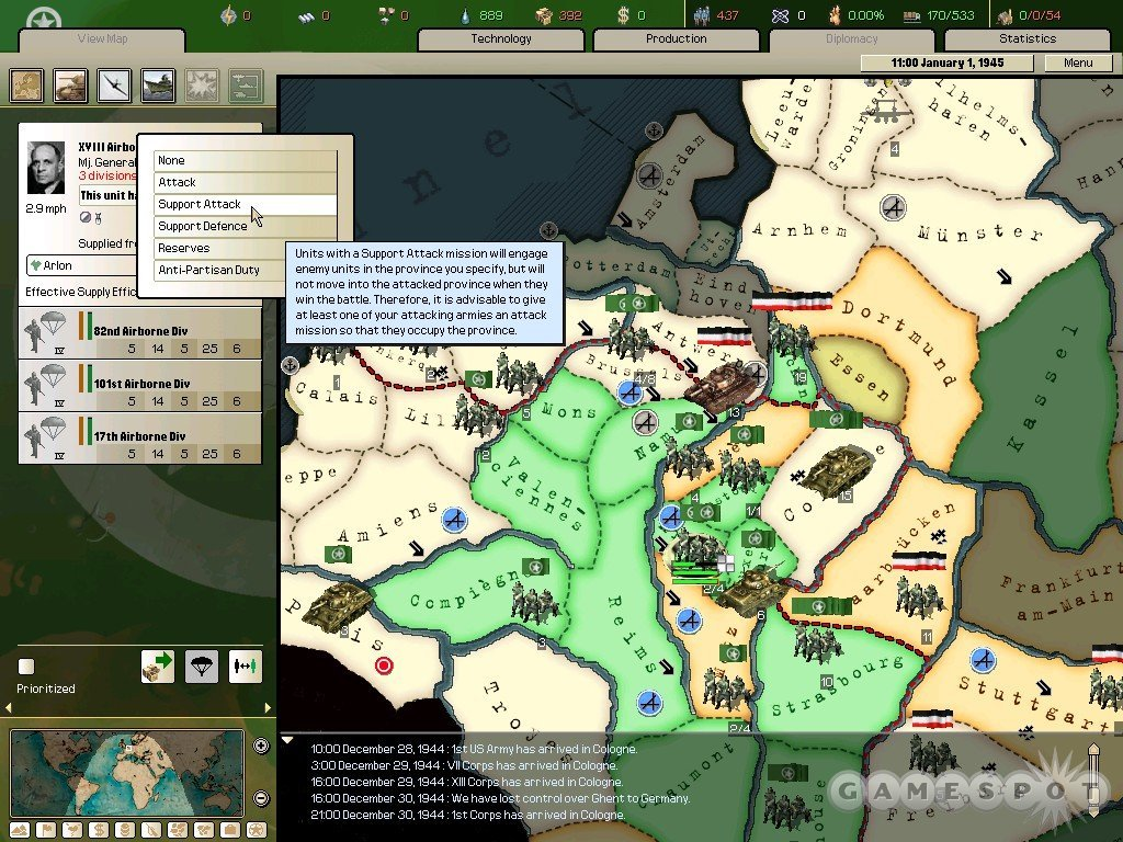 New support options both simplify attacks on enemy provinces and make such offensive operations more realistic.