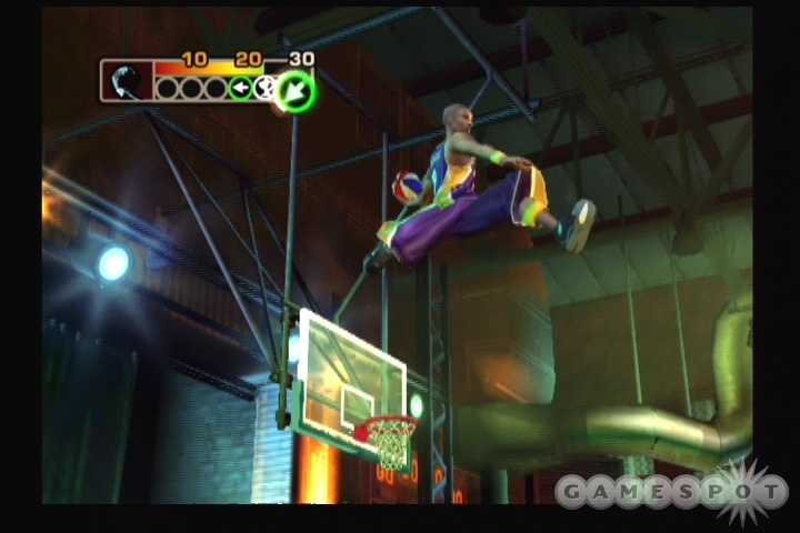 The game also includes a dunk contest mode.