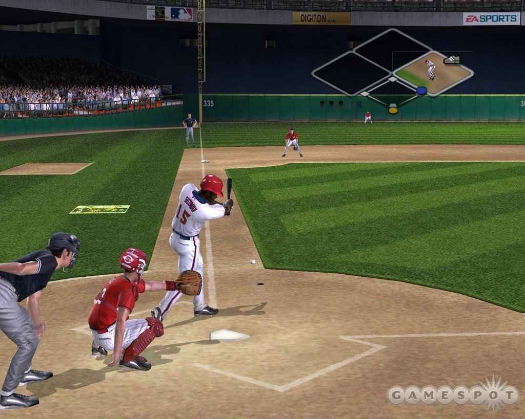 Broadcast-style camera positioning provides great angles on hits, including hard slappers down the third-base line.