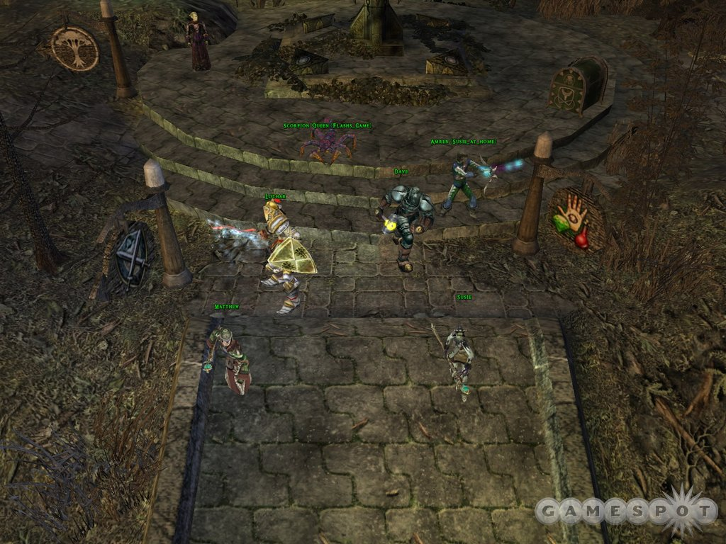 Each member of the party can take a role, such as fighting, healing, and looking really sharp in armor.