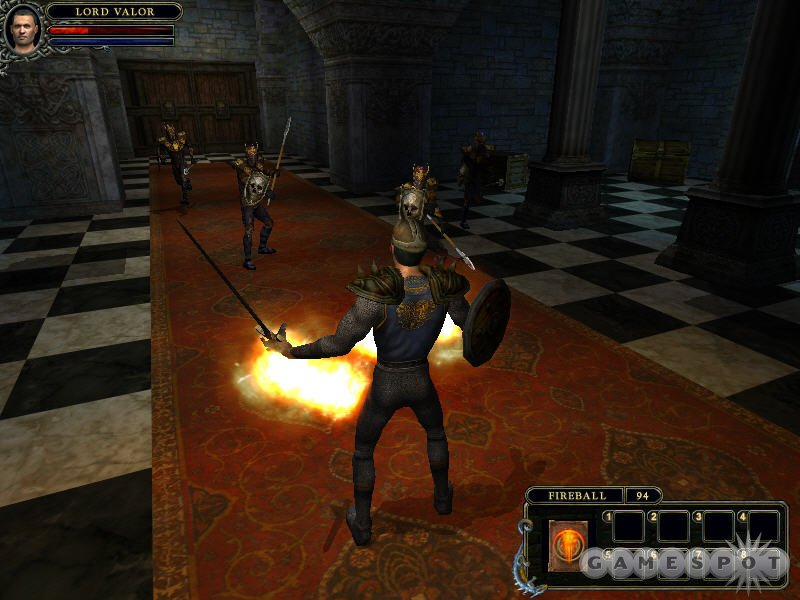 Dungeon Lords is about swords and sorcery, as this fireball-casting fighter demonstrates.