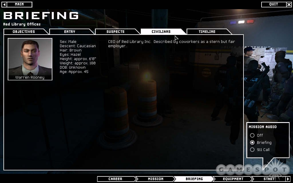 The briefing offers valuable information on each mission...because knowing is half the battle.