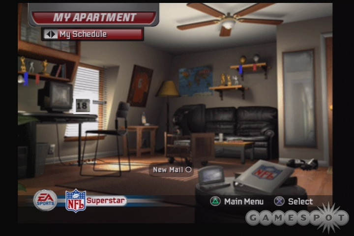 Your sanctuary, your HQ, your fortress of solitude... your crappy little rookie apartment. Don't worry, you'll get a nicer place once the checks starting rolling in.