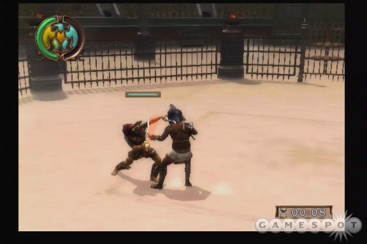 There are several types of battles in the game, and sometimes you'll even get to fight blocky, poorly animated tigers.
