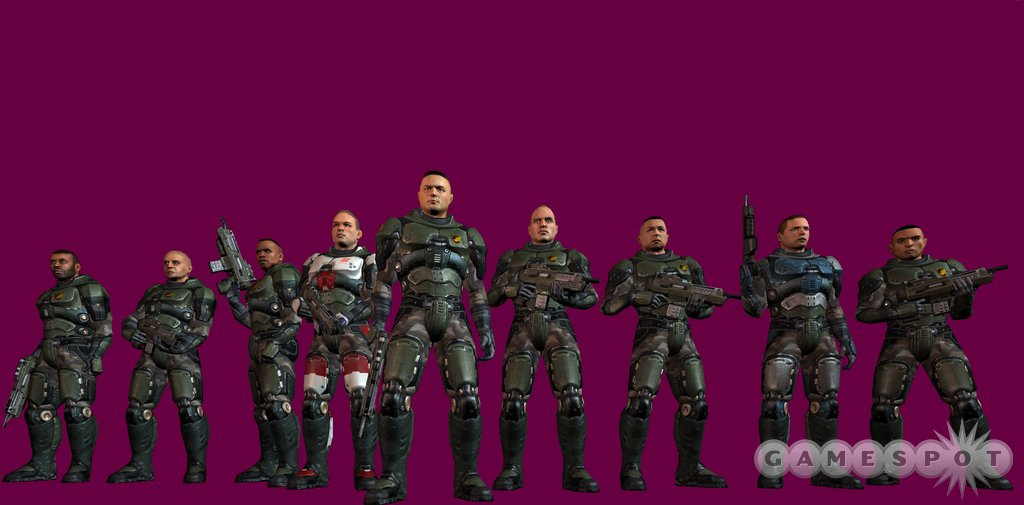 This is Rhino squad, your elite team of Marines in Quake 4. For some reason, they like posing in front of purple backgrounds.