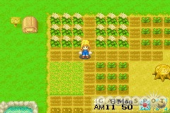Harvest Moon is a farming sim. You'll till the field, grow crops, raise livestock, and enjoy diversions such as Frisbee throwing and horseback riding.