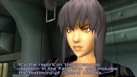 You can play as one of four characters from the anime series: Motoko, Batou, Saito, and Togusa.