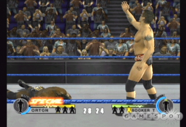 Activate the special taunt to gain access to your wrestler's finishing moves.