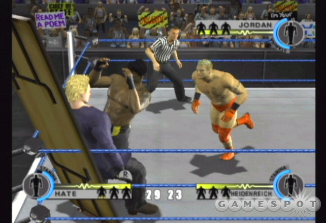 Win the table match by slamming an opponent through the table.